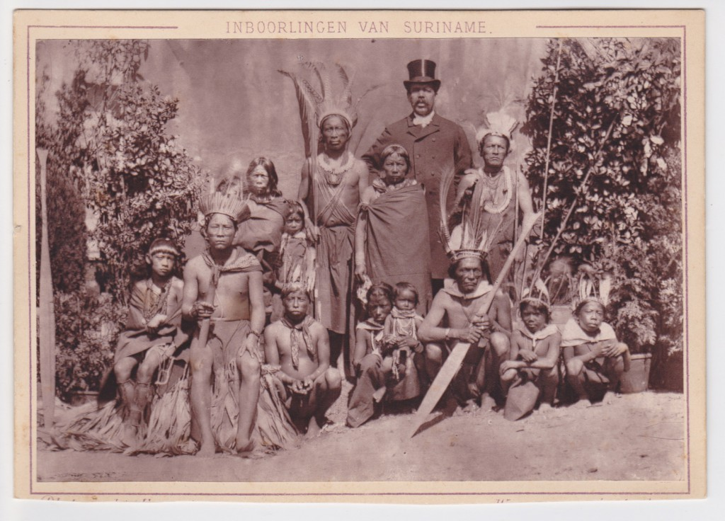 Group portrait of native inhabitants of Surinam (Dutch Guiana) - Dutch Colonial Exhibition 1883